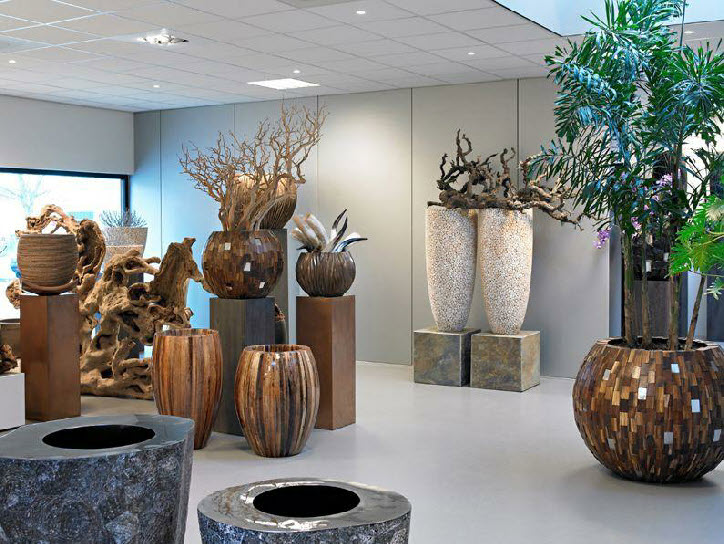 Various planters in natural materials