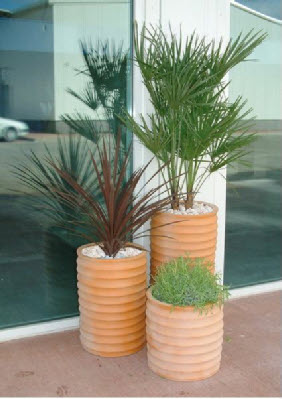 Various GRP plant containers terracotta finish